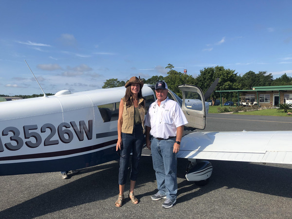 State Rep. John Corbett and GRN Executive Director Rena Peck Stricker flew over the proposed Twin Pines mining site adjacent to the Okefenokee Swamp.